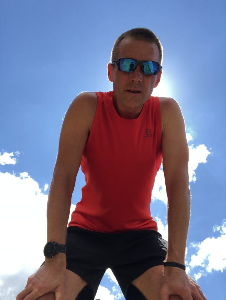 Cory Kawa, recovering from a mid day heat run.