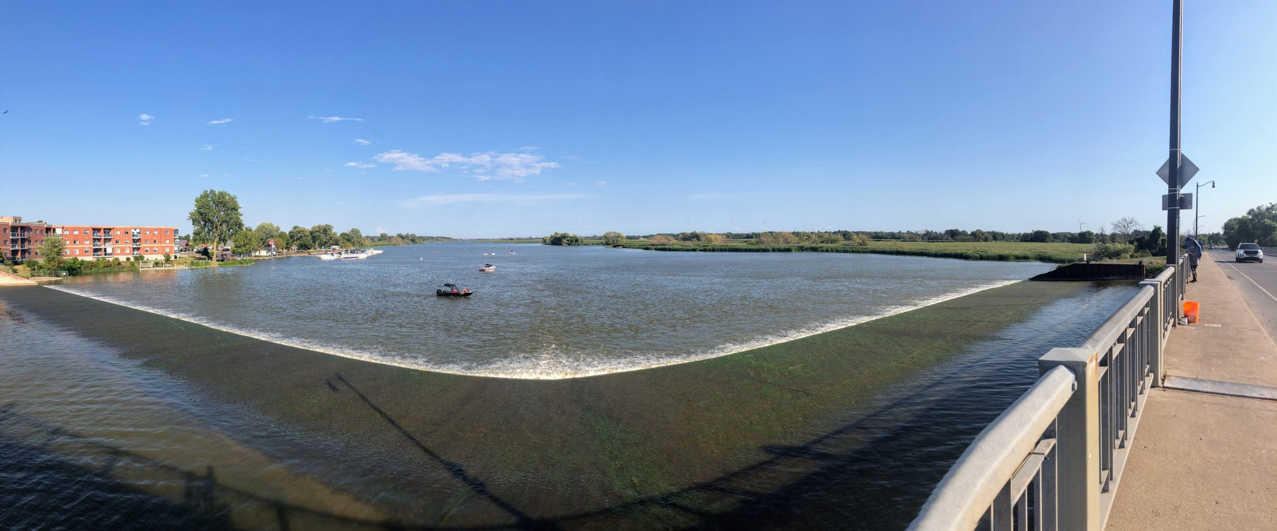Panoramic view of The Grand River in Dunnville