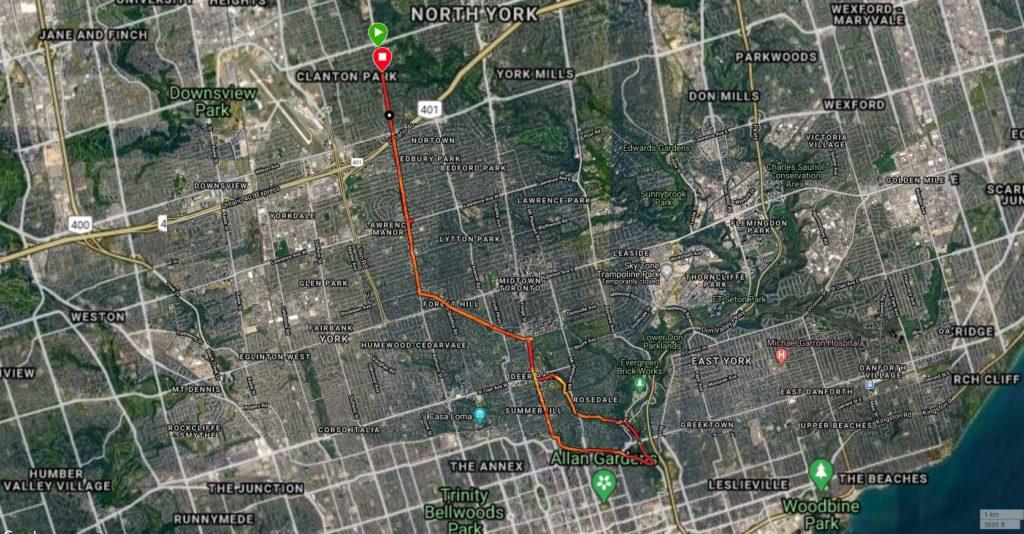 Map of my metric marathon long run through central toront