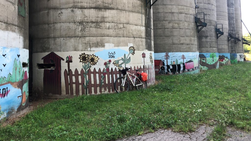 Murals on Abandoned Silos, Waterford, Ontario