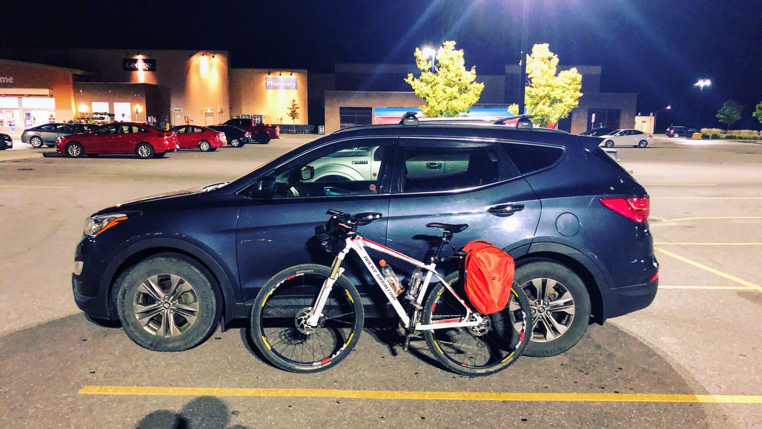 Back at Walmart with my bike resting against the car, finished the 2021 Durham Destroyer.