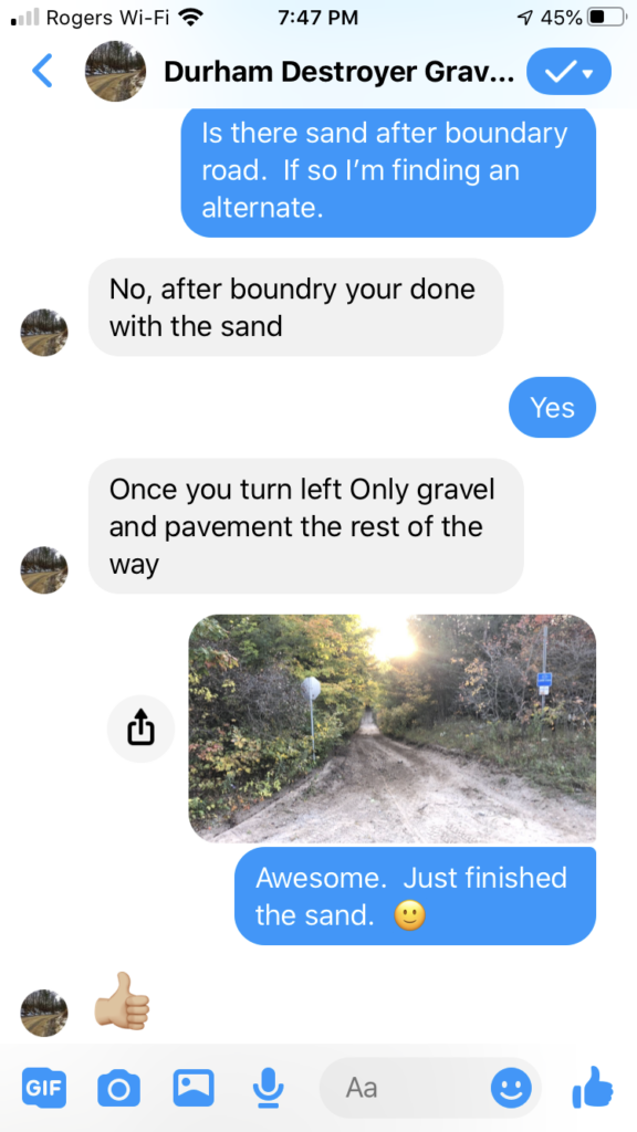 iPhone exchanage with the route creator after I finished Boundary Rd.  Thankfully the sand was done.