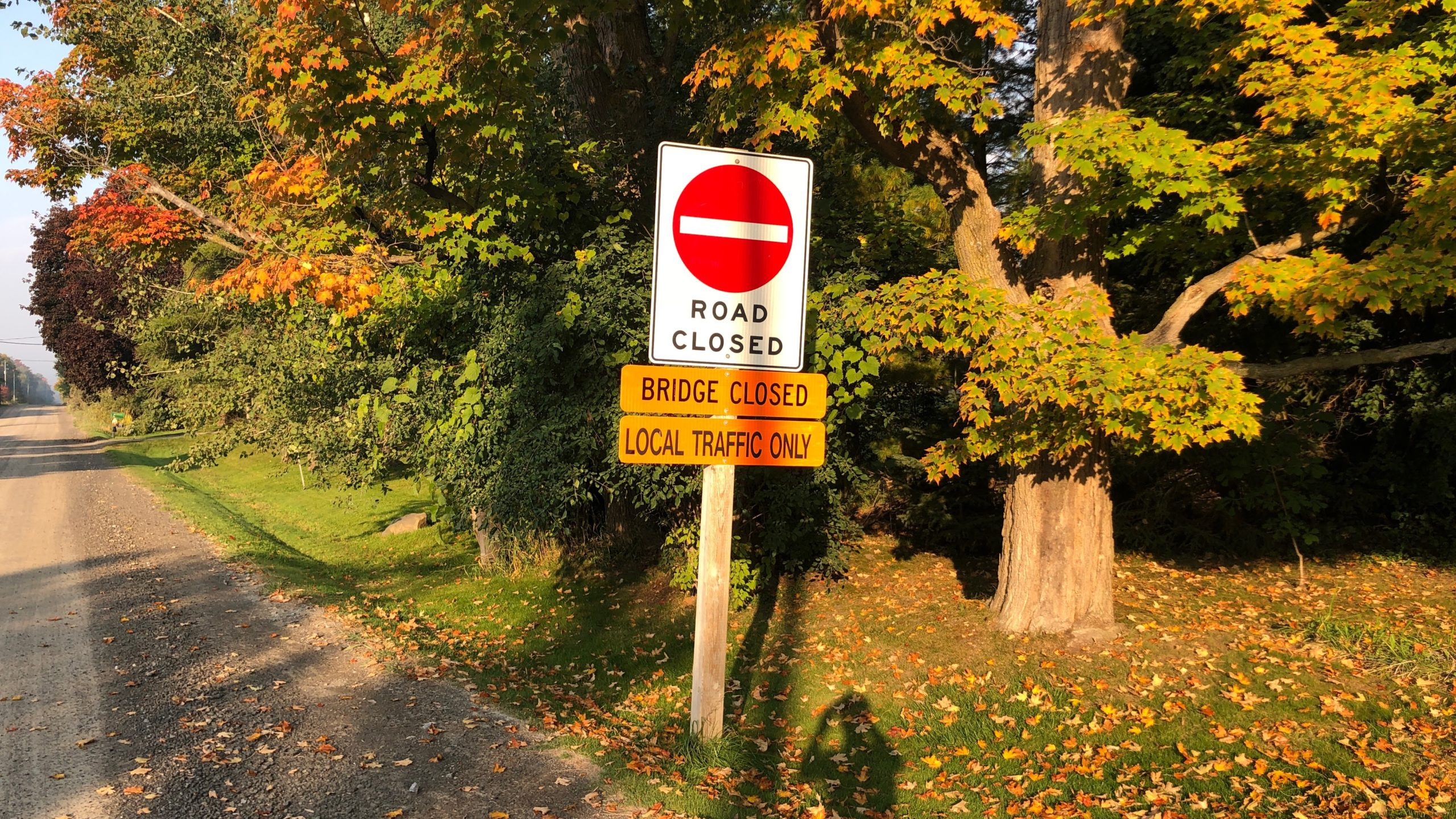A road closed sign on Scugog Line 8, the road up to the official start of the Durham Destroyer.