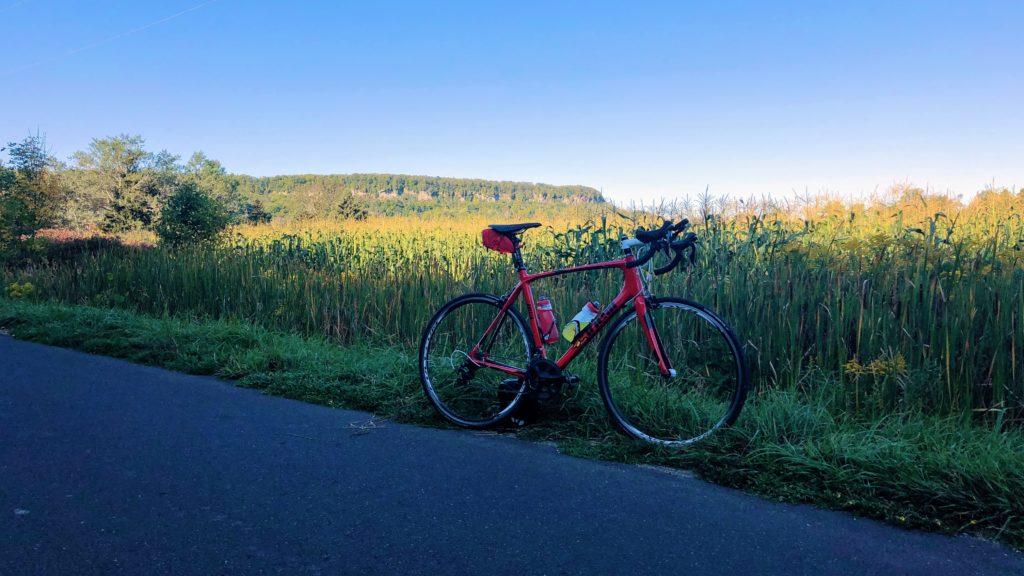 Niagara Escarpment ride, first views of the Escarpment from Side Rd. 2