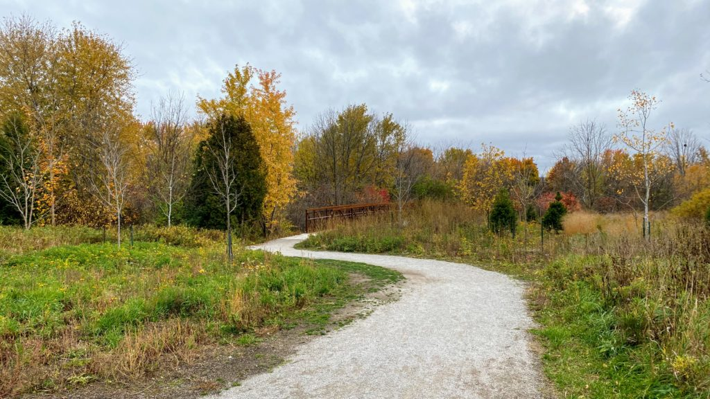 A picture bridges of the Bartley Smith Greenway Trail approaching the Keffer Marsh
