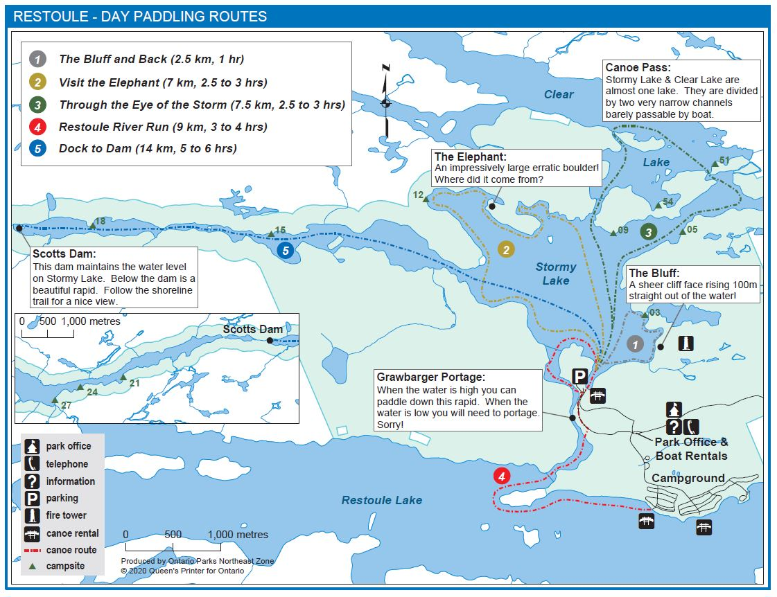 Day Paddling Route Map for Restoule Provincial Park