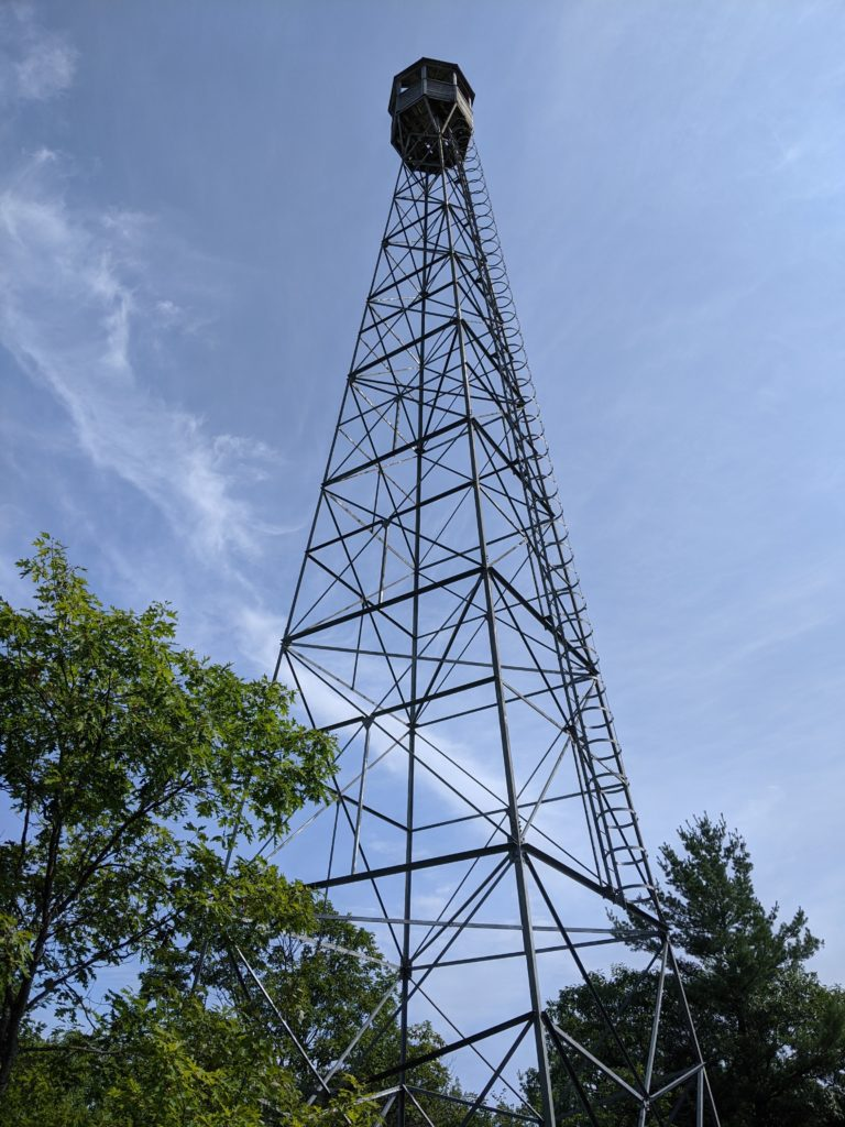 The fire tower atop the fire tower trail at Restoule Provincial Park