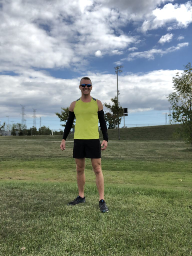 A picture of me and the feeling of success after the 5km PB baseline run, September 20, 2020
