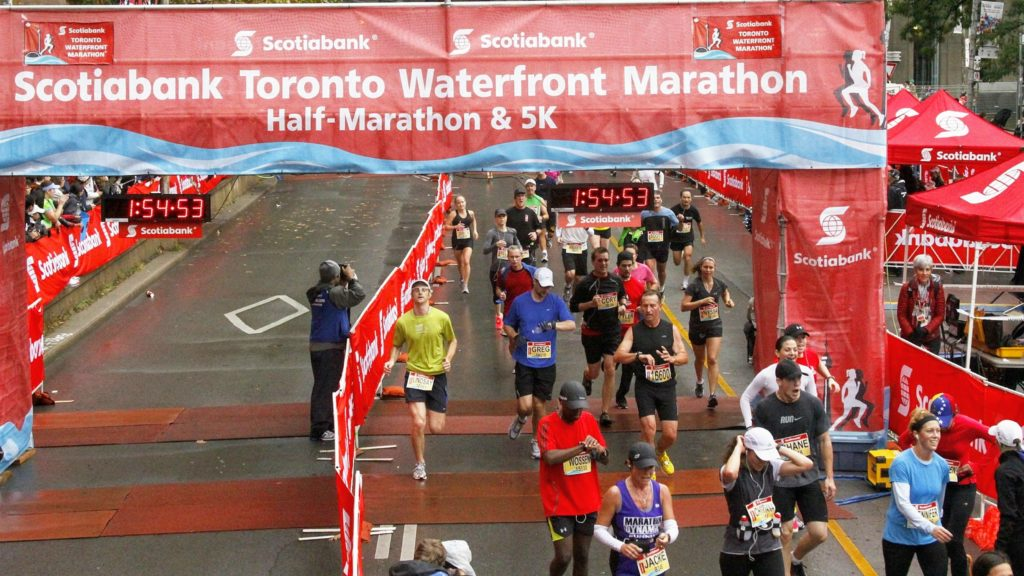 Finishing my first half at the 2012 Scotiabank Toronto Waterfront Marathon.