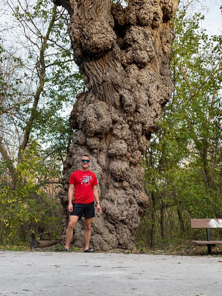 Selfie in Front of a Wart Covered Tree at G. Ross Lord Park