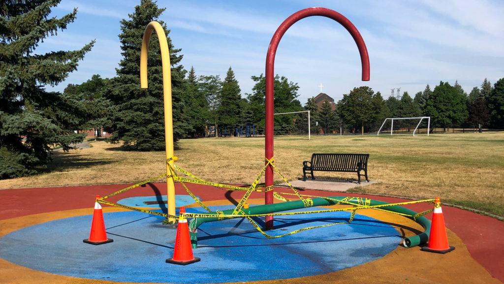 Destroyed Splash Pad at Wade Gate Park