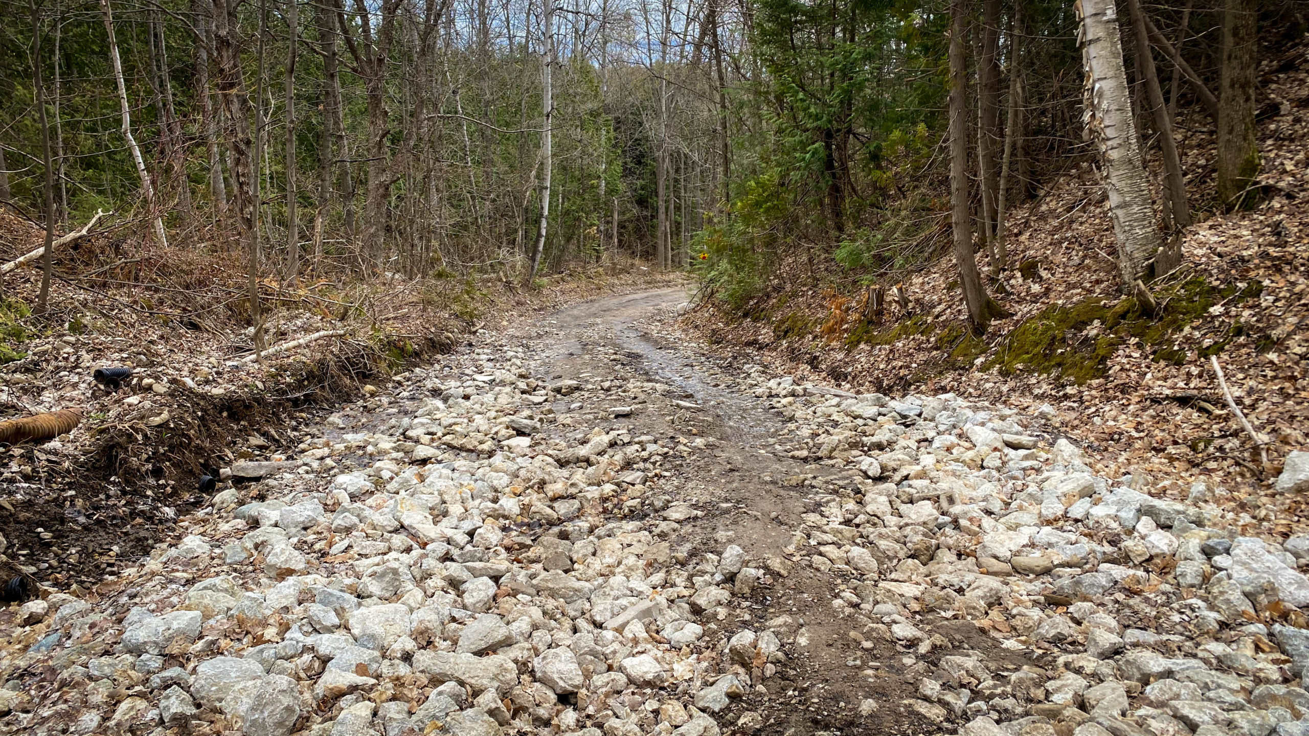 A Photo of Some Wet Slippery Rock Along 15 Side Road.