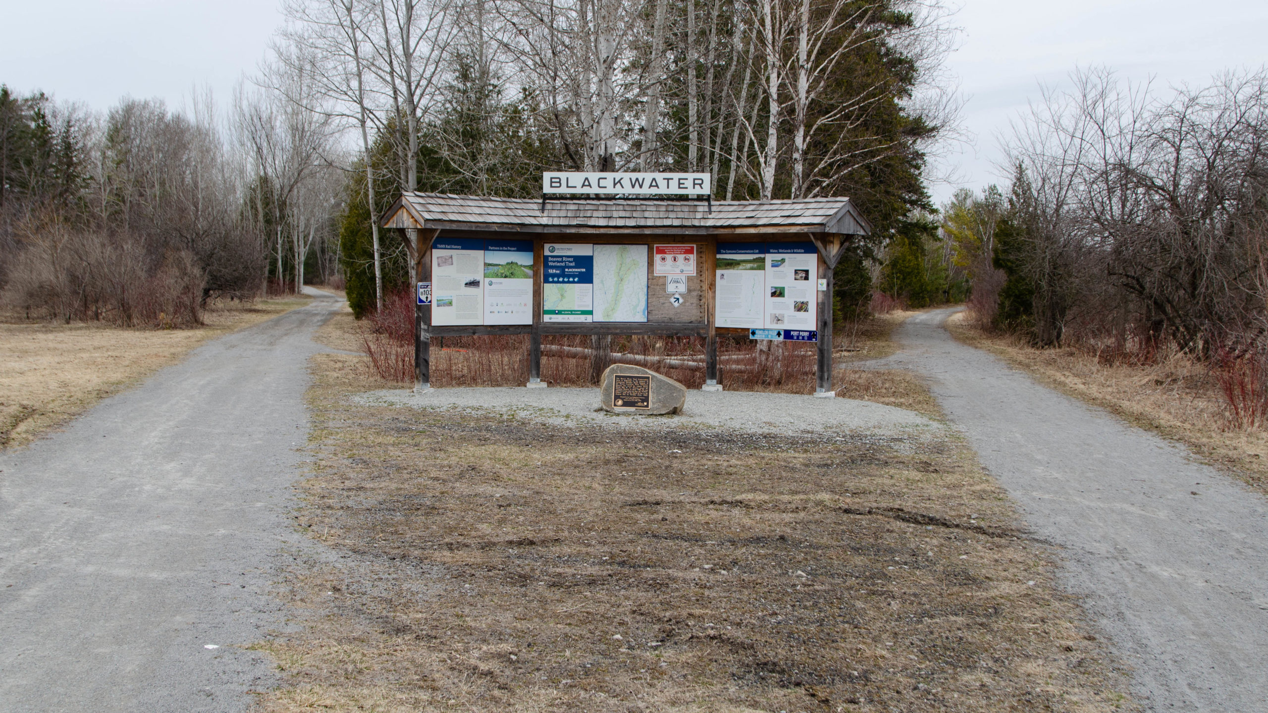 A picture of the map sign where the Trans Canada Trail splits in Blackwater.