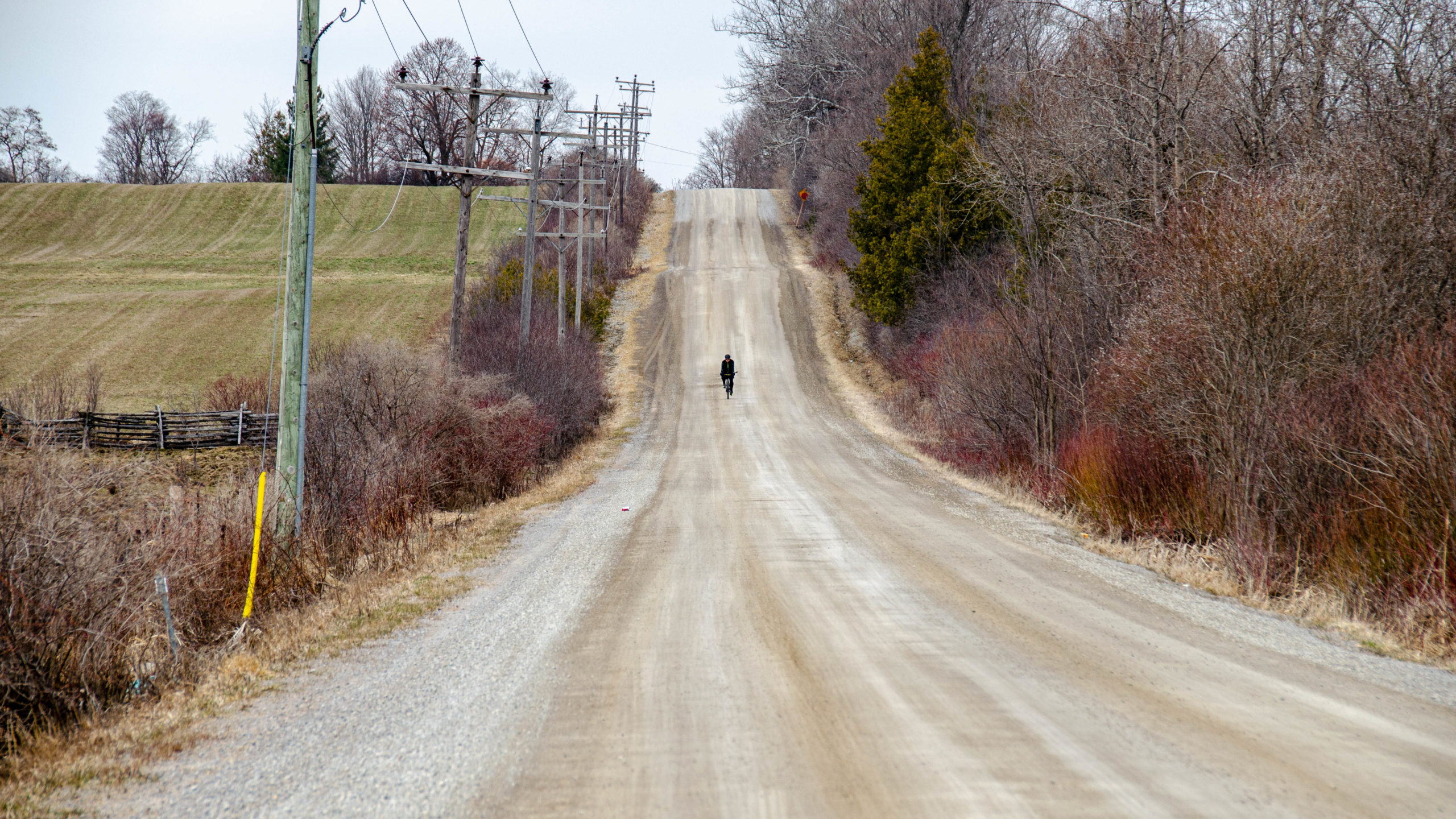 Picture of Mike riding down Side Road 18 south of Cannington.