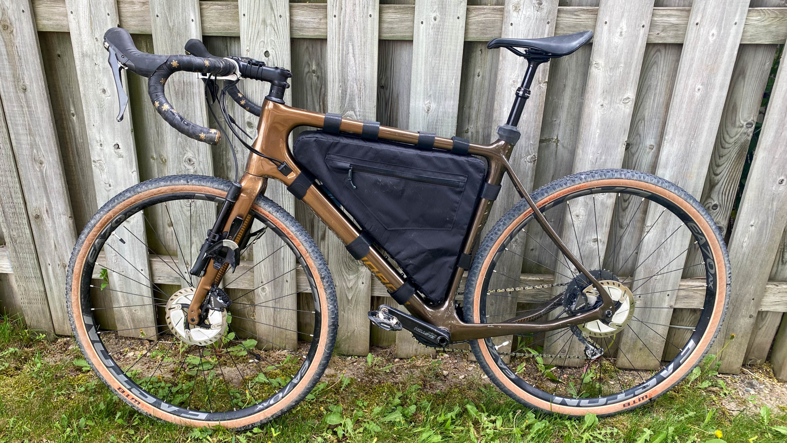 Field and Forest Frame Bag optional side pocket test fit on my Norco Search.