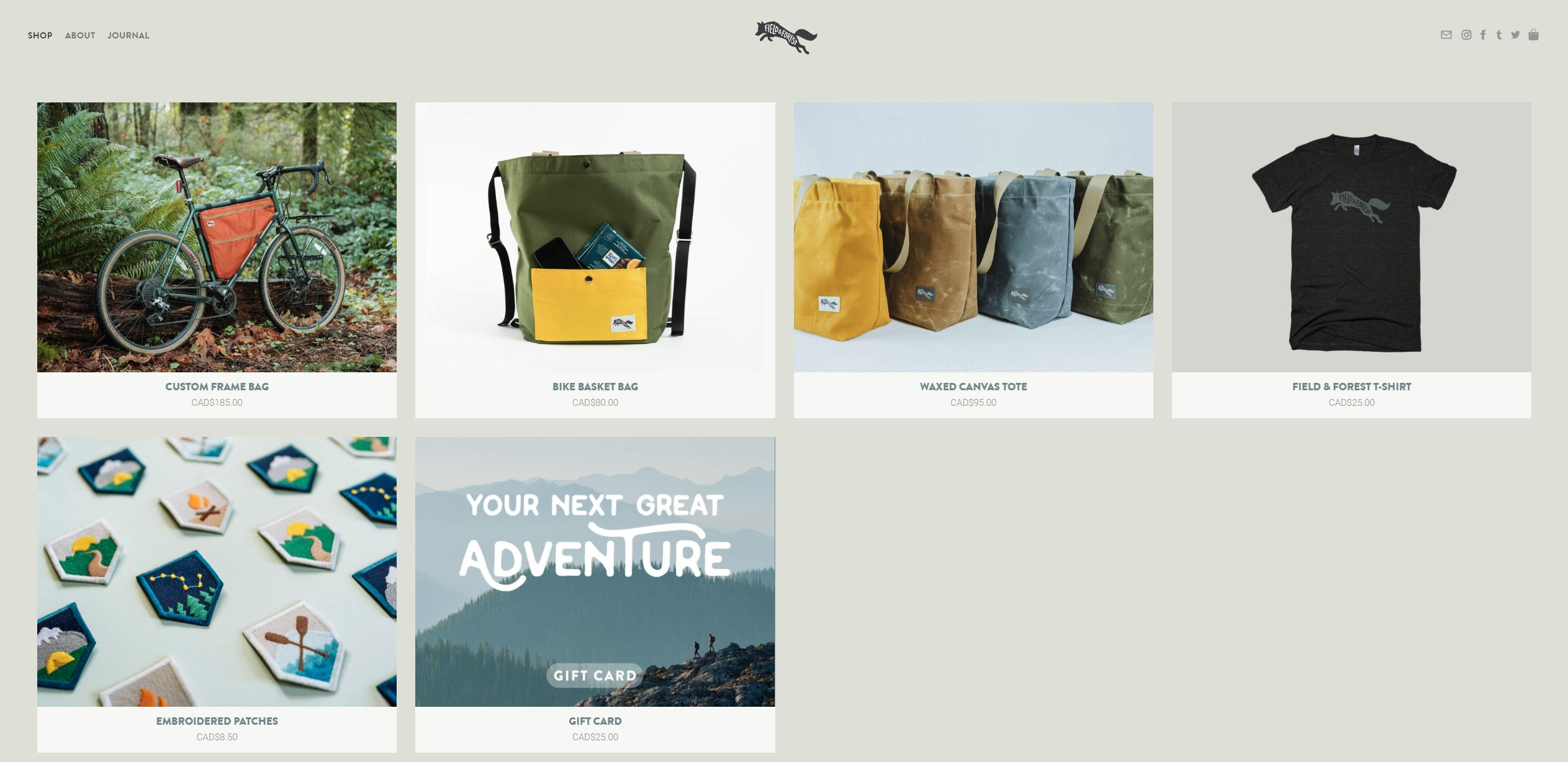 Field and Forest Frame Bag Product Page.