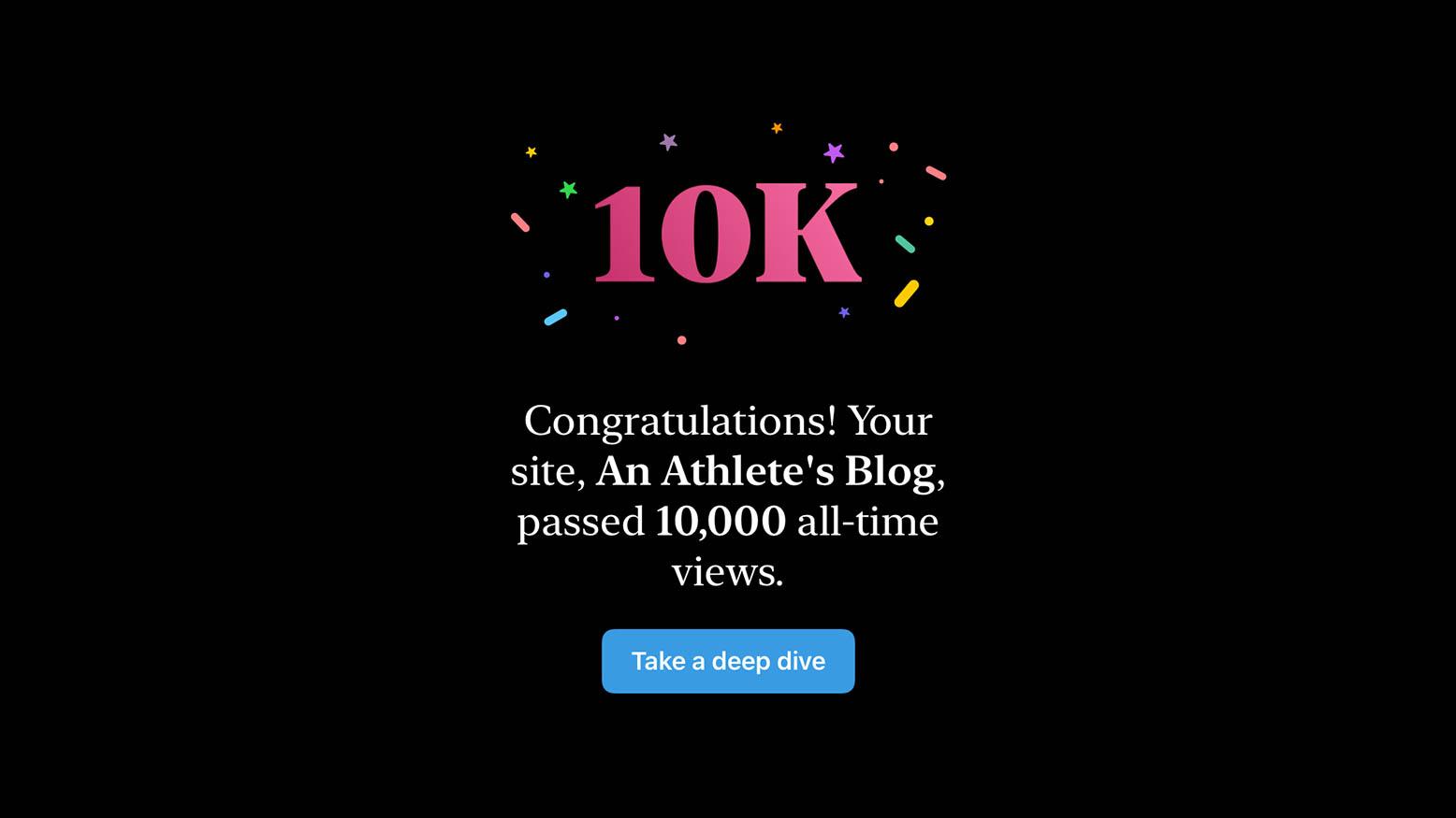 Screenshot of 10k View Congrats