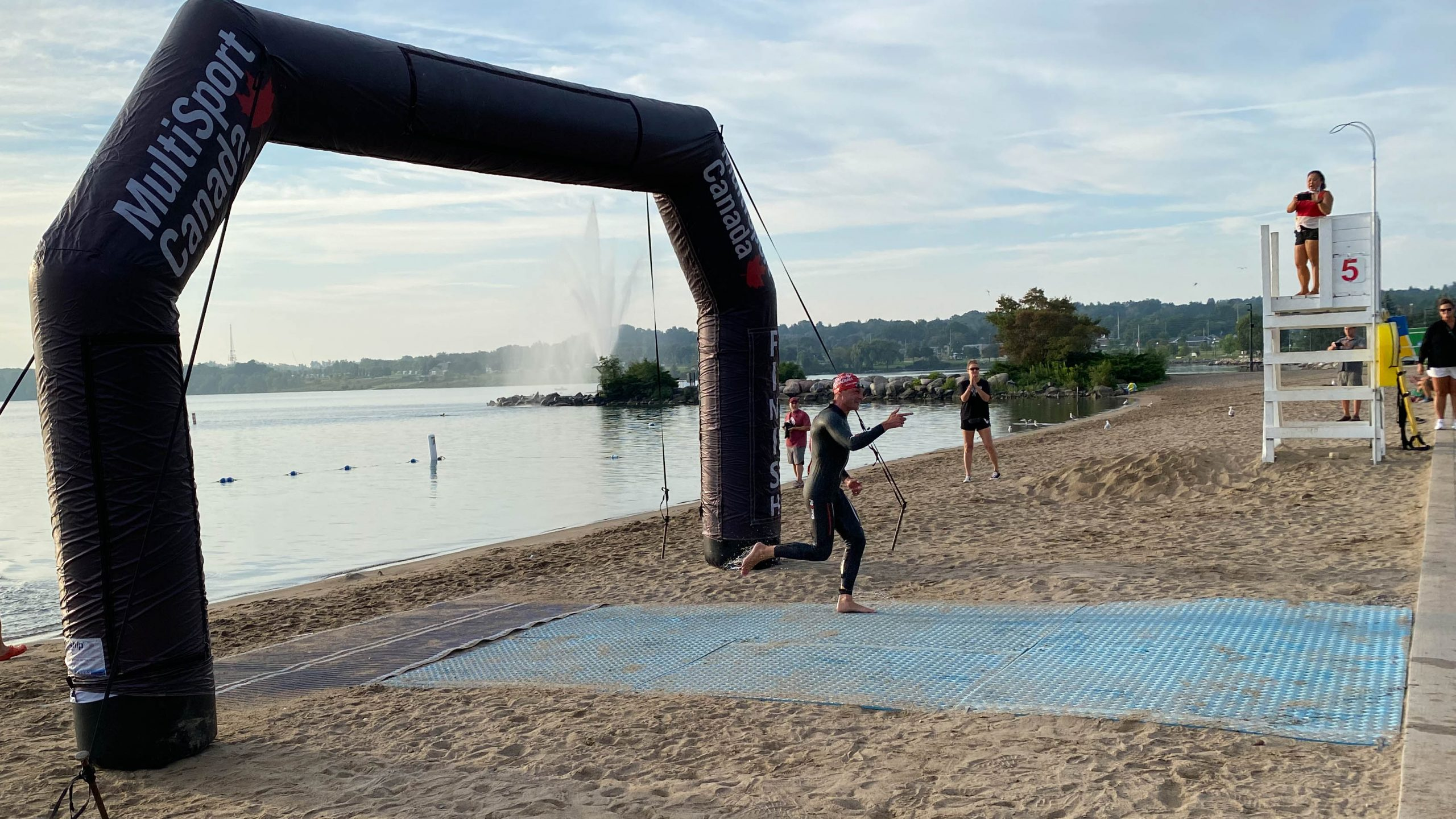Jessie the Elf first out of the water, at the 2021 Barrie Triathlon